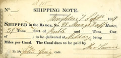 Shipping note found in Canal House (c) N & J Lonie